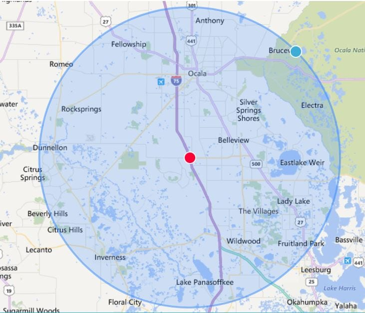 20 Mile Radius Map